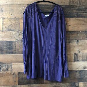 Old Navy Purple Lace Shoulder Long Sleeve Blouse